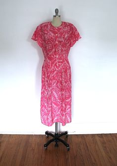 Vintage Dress / Flamingo Pink / Palm Leaf Print / 1980s does 1930s Style / from ThisBlueBird