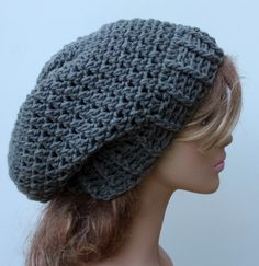New to PurpleSageDesignz on Etsy: Pewter Gray Baggy Hipster  Hat Dread Tam Slouchy Hippie Beanie Handmade Crochet grey (20.00 USD)