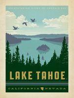 Озеро Тахо Невада Национальный Парк Карта Плакат Классический Урожай Ретро Крафт…