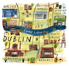 illustrated map for jamie magout today! food  drink hotspots of dublin