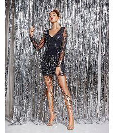 GB Social V-Neck Long Sleeve Sheath Dress   Dillard's New Year Photoshoot, Photoshoot Themes, Christmas Party Outfits, Christmas Fashion, Party Wear, Party Dress, Fiesta Outfit, Fashion Model Poses, New Years Dress