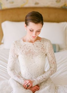 beautiful lace sleeves for a winter wedding