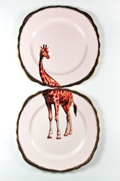 Giraffe plates by yvonneellen on Etsy, $58.00...I am a single mom with one child...perfect for the two of us...