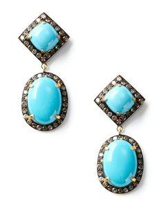 Turquoise Multi-Shape Drop Earrings by Blake Scott