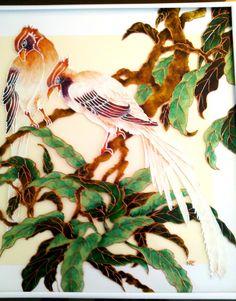 """Tableau peinture sur verre """"COUPLE D'OISEAUX EXOTIQUES"""" : Peintures par mamycole"""