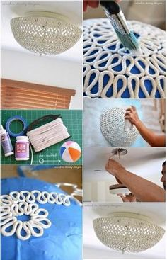 1. Use uma tingela ou bola para molde, forre com plástico, fita adesiva ou outro material e passe vaselina. 2. Faça os desenhos com o barbante e pincele com cola branca Cascorez. 3. Depois de seco …