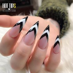 Today we have 34 nails that clearly nailed it! All of these nails are amazing and are what nail art is all about. White Stiletto Nails, Black Nails, May Nails, Hair And Nails, Punk Nails, Black And White Nail Designs, Sharp Nails, Gothic Nails, Fire Nails