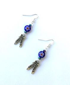 Blue millefiori ballet slipper earrings