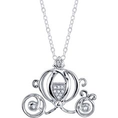 18 Disney Sterling Silver 1/20 ctw Diamond Cinderella Carriage Pendant... ($110) ❤ liked on Polyvore featuring jewelry, necklaces, jewels, pendant jewelry, diamond necklace pendant, disney jewellery, disney and sterling silver pendants