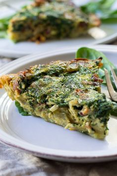 Paleo and Whole30 Spinach Quiche with bacon mushrooms and onions and an easy sweet potato crust. Grain free, dairy free, healthy and good for anytime.
