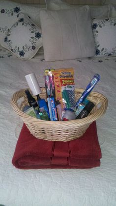Guest Room Basket - make your guests more comfortable in your home by leaving this basket of essentials along with bath towels in your guest room.  Items to consider:  toothbrushes and toothpaste  razors  shower gel and puffs  lint brush (if you have pets)  hairdryer  shampoo and conditioner  hotel soaps  qtips  tampons/condoms