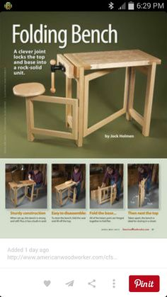 Folding Wood Carving Bench Plans - Wood Carving Patterns and Techniques - Woodwork, Woodworking, Woodworking Plans, Woodworking Projects Folding Workbench, Workbench Plans, Woodworking Workbench, Woodworking Crafts, Woodworking Magazine, Garage Workbench, Woodworking Classes, Woodworking Basics, Woodworking Machinery