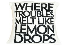 "One Kings Lane - Pillow Talk - ""Lemon Drops"" 16x16 Pillow, Black"