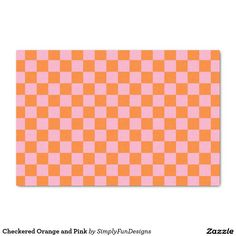 Checkered Orange and Pink Tissue Paper
