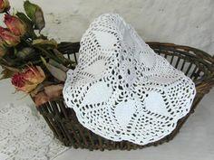Vintage doily handmade crochet lace doily white cotton