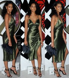 eb88aba19a8 Chanel Iman styled the slip dress with a furry Kate Spade clutch and a pair  of