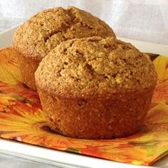 "October Oatmeal Pumpkin Muffins | ""Oh, my goodness! These are amazing. I just made a double batch this morning and will be making more SOON! These are hearty, rise to the perfect shape, and my 18 month son ate three of them--after he'd eaten breakfast! The oatmeal adds nice texture. This is my new staple pumpkin muffin recipe."""