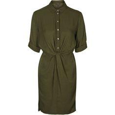 TOPSHOP TALL Twist Front Shirt Dress ($68) ❤ liked on Polyvore featuring dresses, khaki, half sleeve dress, tall dresses, green shirt dress, rayon dress and viscose dress