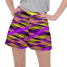 Abstract geometric blocks, yellow, orange, purple triangles, modern design Ripstop Shorts #pants #shorts #ripstop #cowcow #womens #fashion #look #style Creative Design, Modern Design, Orange And Purple, Yellow, Triangles, Shorts, Abstract, Womens Fashion, Fabric
