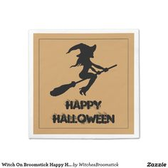 Witch On Broomstick Happy Halloween