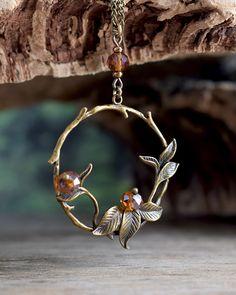 Vintage leaf necklace, Antique brass leaf branch necklace, Tree branch pendant necklace, Woodland jewelry, Twig necklace, Romantic gift
