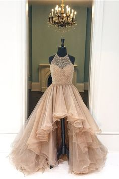 Puffy Halter High Low Light Brown Tulle Layered Prom Dress
