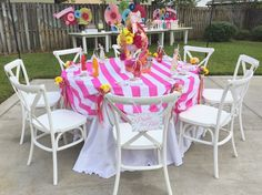 White French Country Chairs just looked beautiful with this table! Many thanks to Anna Christine Events, Over the Top Rental Linens, Flowers By Lesley, Cut The Cake and Kathy Thomas Photography, LLC!