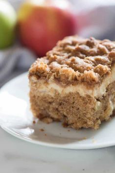 Apple Coffee Cake with Cream Cheese Filling.For breakfast, brunch, or even dessert. A tender cinnamon apple crumb cake with a surprise layer of cream cheese filling, and a delicious streusel topping! Cream Cheese Coffee Cake, Cream Cheese Filling, Cake With Cream Cheese, Coffee Cream, Filling Food, Apple Desserts, Apple Recipes, Cake Recipes, Dessert Recipes