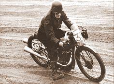 Burt Munro on Indian bike