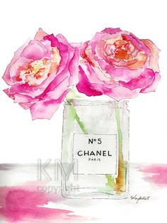 This is a print from my original watercolor painting Peonies and Perfume  The print version comes on 100lb high quality laser print paper. Size: 5