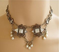 Mary Demarco MOP and rhinestone dangles festoon necklace from The More the Merrier: Vintage Jewelry Exclusively on Ruby Lane