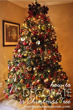 How to Decorate a Christmas Tree Tutorial- some great tips here!  The decorations used in this tutorial can tend to be expensive, but mesh, ribbon, and burlap are inexpensive ways to make your tree look awesome!  Buy big poinsettias and flowers when they are on sale, on a slim 7ft tree 7-8 flowers will go a long way!