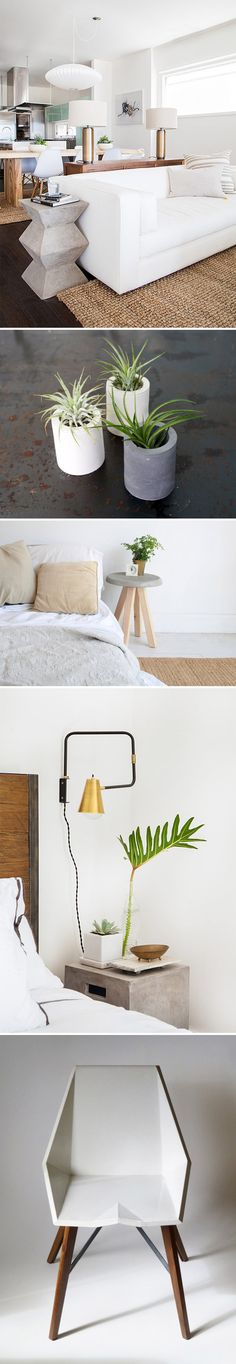 A surprisingly versatile trend that makes HomePolish's top five for 2015 is concrete...everything. From side tables and sculptural chairs to planters and pendant lamps, the industrial material takes many forms — all of them chic. #etsy #homepolish