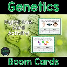 This interactive deck will challenge your students to learn the basics of genetics including inherited and acquired traits, punnett squares, and key vocabulary. This digital resource is hosted on Boom Learning™️. Boom Cards™️ require absolutely no printing, laminating, cutting, or grading. It's all done for you!