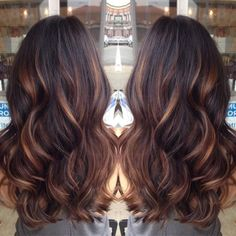 Golden caramel balayage on her dark brown hair . I want to try the balayage method of hair color. Hot Hair Colors, Cool Hair Color, Indian Hair Color, Shatush Hair, Ombré Hair, Curls Hair, Mom Hair, Red Curls, Brown Curls