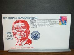 USS RONALD REAGAN CVN-76 Naval Cover 1998 KEEL LAID Cachet AIRCRAFT CARRIER