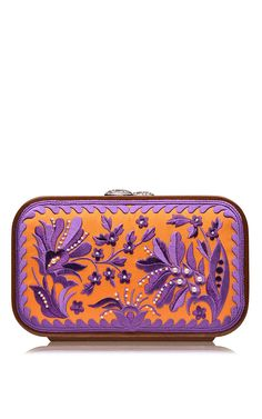 Orange Floral brocade Embroidered Square Bag by Katrin Langer for Preorder on Moda Operandi