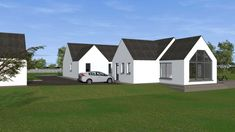 New Detached Bungalow and Detached Domestic Garage in Co. Modern Bungalow House, Modern House Design, House Designs Ireland, Old School House, Fancy Houses, My House, House Plans, Shed, Garage