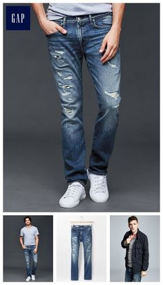 STRETCH 1969 destructed slim fit jeans