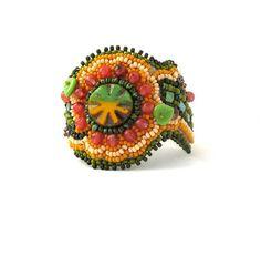 Bead embroidery bracelet Beadwork bracelet Seed bead by ibics, $110.00