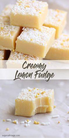 Lemon Fudge A creamy and silky-smooth lemon fudge recipe with a great tang! via creamy and silky-smooth lemon fudge recipe with a great tang! Lemon Fudge Recipe, Lemon Recipes, Fudge Recipes, Candy Recipes, Sweet Recipes, Baking Recipes, Dessert Recipes, Simple Fudge Recipe, Gourmet Recipes
