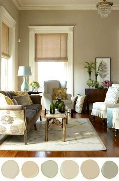 Great pin by a fellow #homestager- (though I'm adventurous and like using grays and other neutrals, these are the most well known beige color). #Staging Your Home For Sale Color Inspiration: Manchester Tan HC-81, Monroe Bisque HC-26, Camoflage 2143-40, Carrington Beige HC-93, Shaker Beige HC-45, Nantucket Gray HC-111
