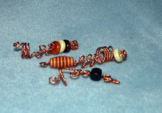 3 Twisted Copper Looped Wood Loc Jewels Simply by NaturalJaurney, $12.00