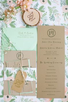 Pretty mint, pink and brown invites: http://www.stylemepretty.com/little-black-book-blog/2015/04/03/rustic-elegant-vine-hill-house-wedding/ | Photography: This Love of Yours - http://thisloveofyours.com/