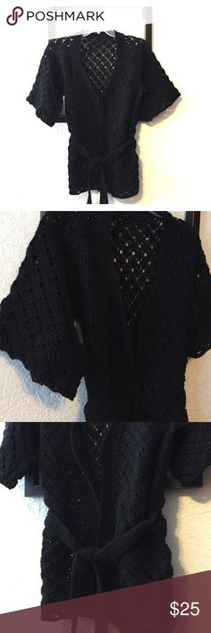 Hand Knit Cardigan Hand knit black cardigan with half sleeves and tone tie. Soft, beautiful and flattering! handmade Sweaters Cardigans