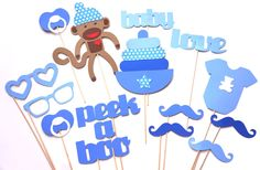 Baby Shower Props - Baby Boy Photo Props - Photo Booth Props - Blue Photo Props.