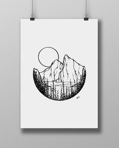 Line Art Illustration Sketching Black Ideas Illustration Sketches, Drawing Sketches, Art Minimaliste, Pen Art, Cool Drawings, Mountain Tattoo, Art Inspo, Painting & Drawing, Cool Art