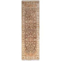 Hand-knotted Brown Holloway Semi-Worsted New Zealand Wool Rug (2'6 x 8')