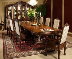 Michael Amini Victoria Palace Rectangular Table Dining Set Espresso by AICO
