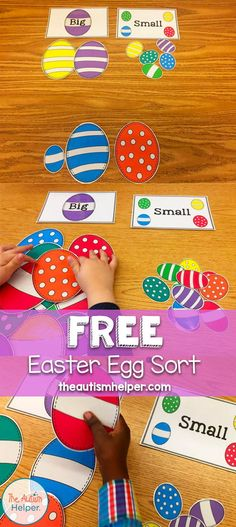 Free Big/Small Easter Egg Sort activities preschool Free Big/Small Easter Egg Sort - The Autism Helper Easter Puzzles, Easter Activities For Kids, Spring Activities, Toddler Activities, Preschool Activities, Crafts For Kids, Diy Crafts, Easter Bunny, Easter Eggs